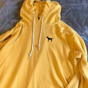 "Yellow ""PINK"" sweatshirt (has a hood)"
